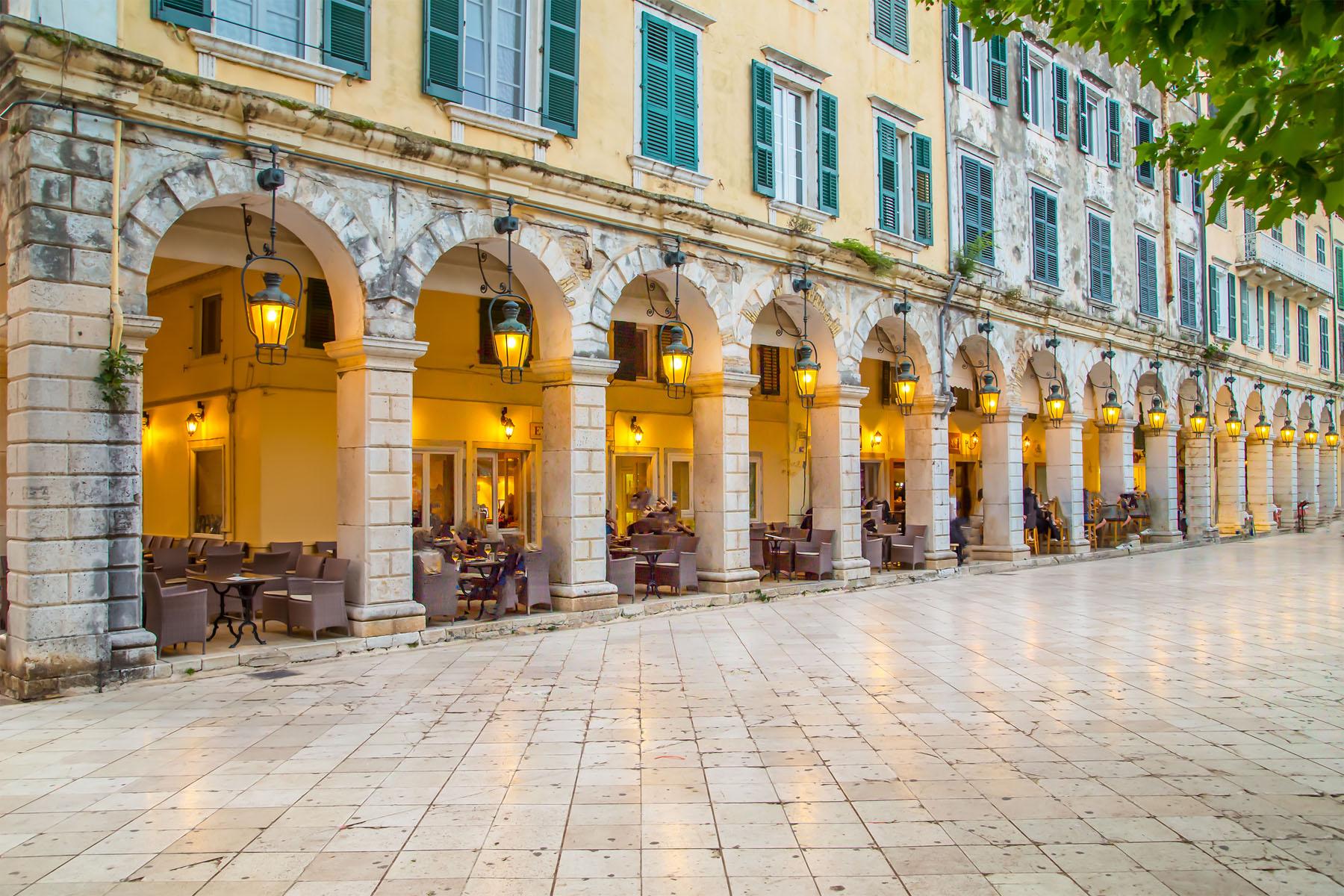 Corfu Liston evening time