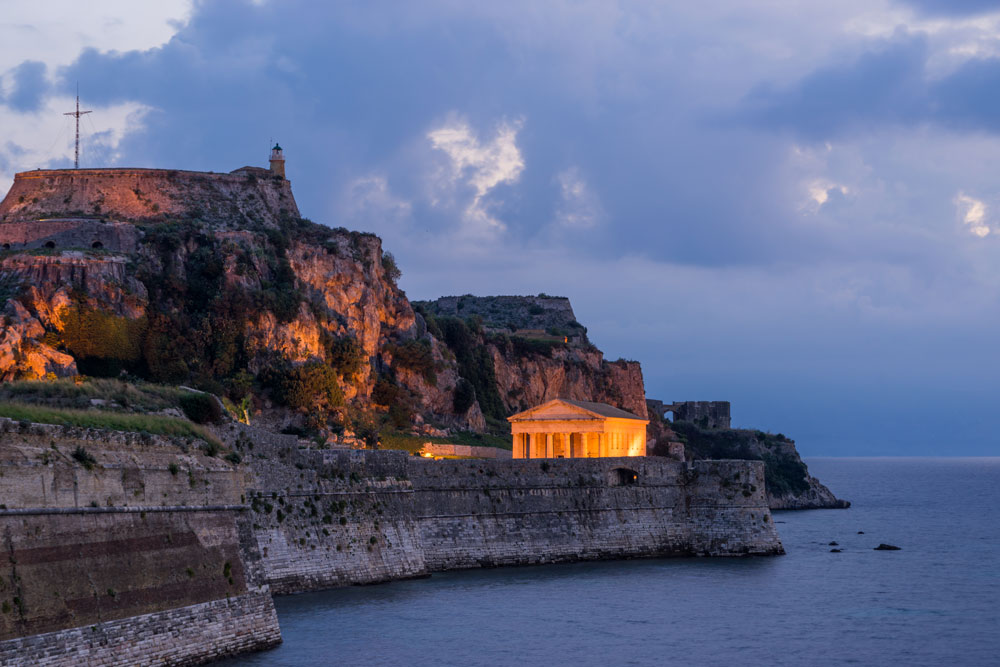 corfu old fortress late evening